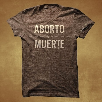 ABORTO es MUERTE short sleeve t-shirt (bwn/ beig)